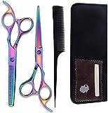 Unknow Colorido de 6 Pulgadas Tijeras de peluquería Tijeras de peluquería Profesional Set Set de Acero Inoxidable Tijeras de Belleza para Home Hair Salon