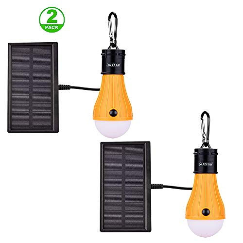 AIYEGO Portable Solar Lights Outdoor, Waterproof 165LM Dimmable Solar Light Bulb with...