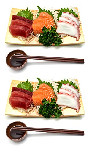 Wooden Bamboo Sushi Platter Dish Tray Japanese Dinner Set with Chopsticks and Soy Sauce Dish Set for 2