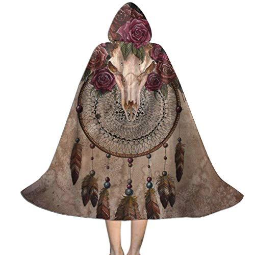 Amanda Walter Nios Crneo de Ciervo Atrapasueos Cabeza de Cuerno de Cabra Flores Capa con Capucha Capa Halloween