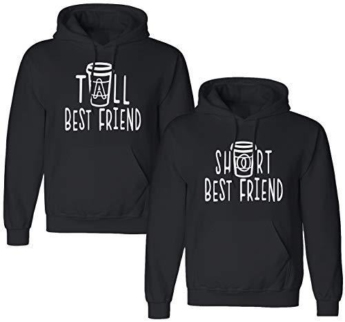 Best Friends Pullover für Zwei Mädchen 1 Stück Tall Short Beste Freunde Sister Pullover für 2 Schwester Hoodie Freundinnen Freundschafts Pulli BFF Geschenke (1 Stück - Short - Schwarz, M)
