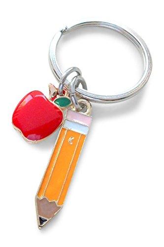 Pencil & Apple Charm Teacher Keychain - Thanks for Being Such a Great Teacher