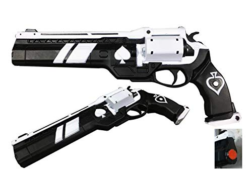 Mingshao New Foam Gun Ace of The Spades Hand Cannon Prop Does Not Shoot Classic Ornament Free Banner Game Anime Gift (Black/White)