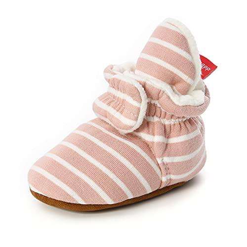 TMEOG Bottines Bébé Garçon Fille, Hiver Chaud Semelle Douce Bottes de Neige Berceau Chaussures Tout-Petits Premiers Pas Enfant Bottines Chaussures Boots (6-12 Mois, B_Rose/Blanc)