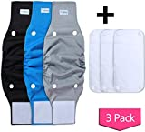 Teamoy Belly Bands for Male Dogs with Extra Removable Pads, Reusable Washable Puppy