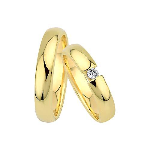 GIORO Ferrara Eheringe Trauringe Hochzeitsringe massiv Gold *handgefasster Brillant Stein* Paarpreis Echtes Gold (14 Karat (585) Gelbgold)