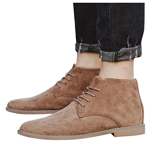 Men's Suede Leather Chukka Ankle Boots Classic Round Toe Original Suede Leather Desert Storm Chukka Boots Goosun Lace up Fashion Oxfords Suede Leather Chelsea Dress Boots Brown