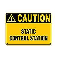 注意静的制御エリアの危険ラベル メタルポスタレトロなポスタ安全標識壁パネル ティンサイン注意看板壁掛けプレート警告サイン絵図ショップ食料品ショッピングモールパーキングバークラブカフェレストラントイレ公共の場ギフト