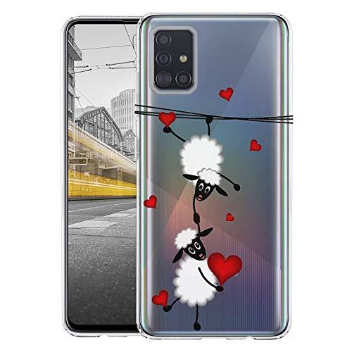 KX-Mobile Hülle für Samsung A51 Handyhülle Motiv 2047 Schafe & Herzen Premium Silikonhülle durchsichtig mit Bild SchutzHülle Softcase HandyCover Handyhülle für Samsung Galaxy A51 Hülle
