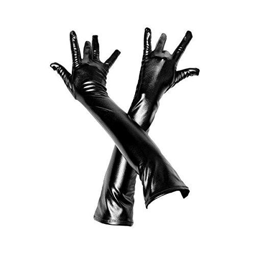 Adesugata - Guantes largos de piel sintética para mujer, aspecto mojado, brillantes negro negro