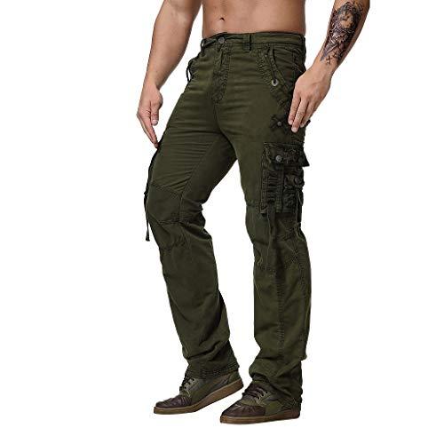 Pantaloni Cargo Uomo con Tasche Laterali Tasconi Zip Slim Fit Regular Fit Pantaloni Casual Pantaloni da Lavoro (3XL,Army Green)