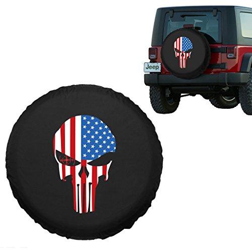 Moonet American Flag Skull Spare Tire Wheel Cover Car Truck SUV Camper Fits Jeep Wrangler CRV FJ RAV4 H2 H3 Land Rover Discovery EcoSport Outlander Grand Vitara R15 M (Diameter 28inch-30inch)