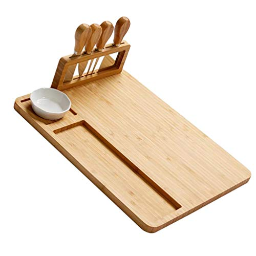 NICEXMAS 1 Juego de Tabla de Quesos de Bambú Plato de Charcutería Bandeja de Servir Servidor de Madera con Cortador para Entretener Galletas de Vino Carne Brie