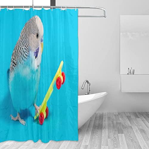 COSNUG Wellensittich Parrot Play Skateboard Duschvorhänge für Badezimmer 183 x 183 cm mit 12 Haken, benutzerdefinierte wasserdichte Badezimmervorhänge für Mädchen & Jungen