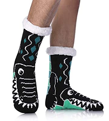 Mens Fuzzy Slipper Socks Animal Thick Cosy Warm Soft Fleece lined Thermal Winter Non Slip Socks