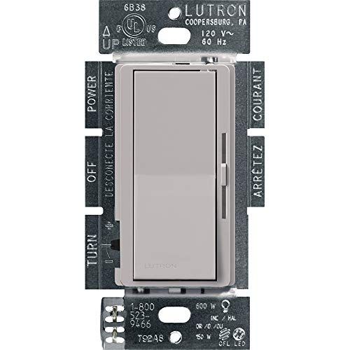 Lutron Diva LED+ Dimmer for Dimmable LED, Halogen and Incandescent Bulbs | Single-Pole or 3-Way | DVCL-153P-GR | Gray