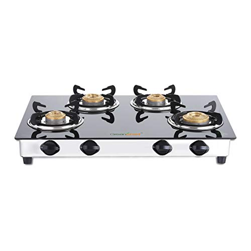 Greenchef NEXA 4 Burner Glass top Gas Stove, ISI Certified (4 Burner)