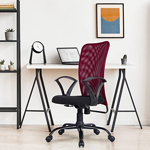 Green Soul® Seoul Mid Back Suitable for Working from Office & Home, Study Chair in Breathable Mesh with Multi Color Options & High Comfort Seating, 1 Year Warranty (Confident Maroon)