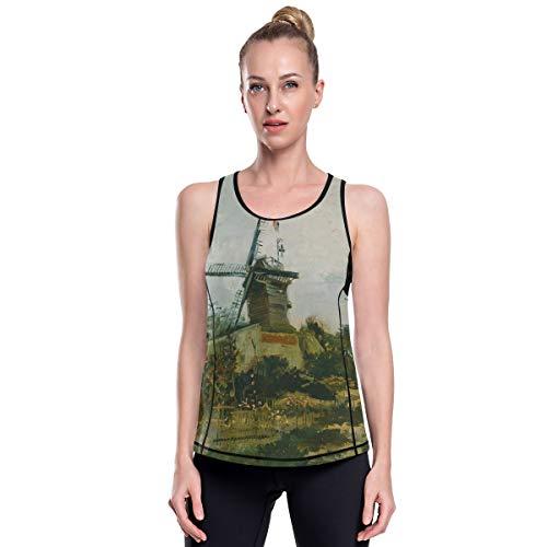 Fantazio Van Gogh Windmills Vêtements de yoga en maille haut d'exercice Gym Chemises de course - - S