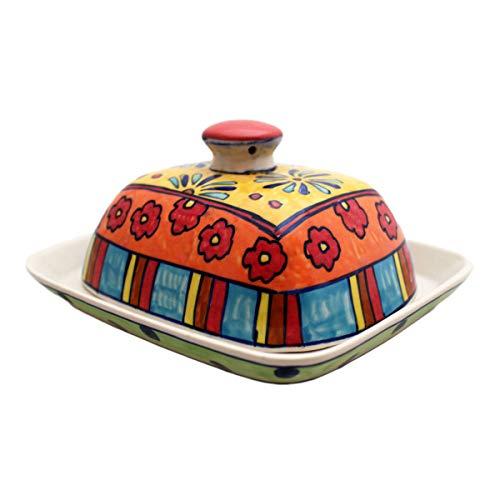 Gall&Zick Butterdose mit Deckel Keramik Bunt Handbemalt (Blumig)