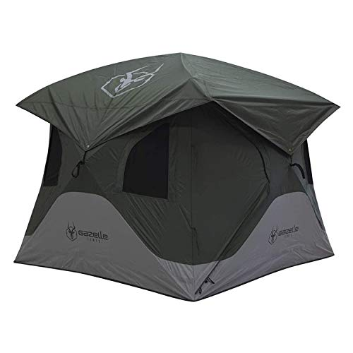 Gazelle T3X GT301GR 4 Person Pop Up Lightweight Portable 3 Season Camping Hub Tent with Easy Setup, Storage Pockets, and Gear Loft, Alpine Green