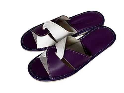Hellbeige und Lavendel Lila Damen Hausschuhe aus natürlichem Leder, rutschfeste gesunde Indoor-Schuhe für Frauen