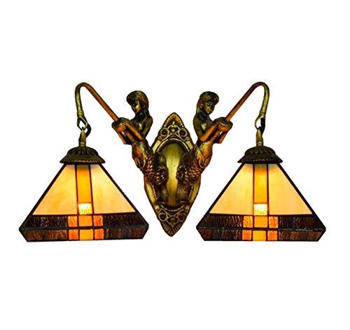 YIHANG European Creative Retro Art Glass Square Mermaid Wall Lamp Bar Restaurant Hallway Corridor Lights