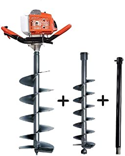 MECSTROKE Brand 68cc Heavy Duty Petrol Operated Earth Auger/Post Hole Digger/Hand Earth Auger with 2 Different Types Driller & Extension Pipe