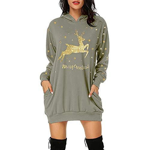OPIAL Damen Weihnachtskleider Rundhals Hoodie Mit Taschen Kuschelig Print Hoodie Mode...