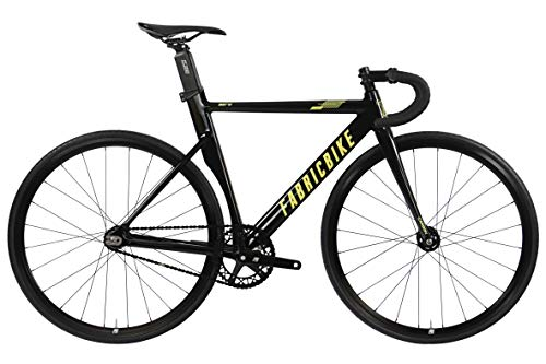 FabricBike Aero - Bicicleta Fixed, Fixie, Single Speed, Cuadro de Aluminio y Horquilla de Carbono, Ruedas 28', 5 Colores, 3 Tallas, 7.95 kg (Talla M) (Glossy Black & Gold, S-49cm)
