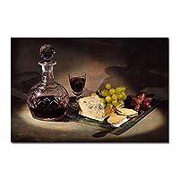 モダンキッチンキャンバス絵画グレープワインとチーズクアドロスポスタープリントウォールアート食品写真リビングルーム家の装飾35x50cmフレームレス