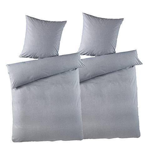 optidream 2-TLG. Bettwäsche Set Chambray Melange Effekt 135x200 100% Baumwolle mit Reißverschluss Uni Grau