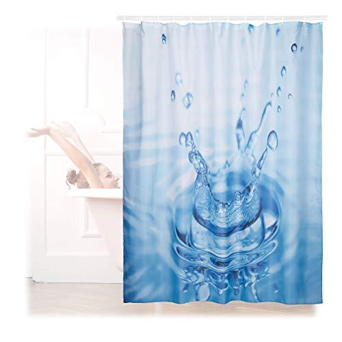 Relaxdays Duschvorhang Wassertropfen, Naturmotiv, Polyester, waschbar, Anti-Schimmel, Badewannenvorhang 180x180 cm, blau