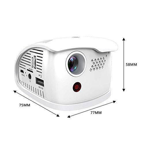 DHINGM Mini HD Projector1080P / HDMI/VGA/USB/Caja de TV/Ordenador portátil/DVD/Altavoz Externo Compatible, Apto for Cine en casa Entretenimiento Juegos de Sociedad (Color : White)