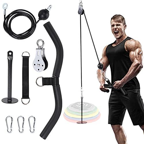 Poleas Gimnasio para Casa, Fitness DIY Polea Cable Máquina de musculacion Entrenamiento de Fuerza del Brazo Cuerda Triceps Gym Accesorio de Entrenamiento para Antebrazos (220-312 Libras) ✅