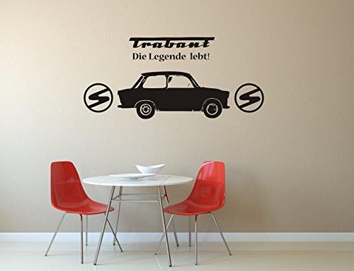 """Trabant, Wandtattoo, Wandaufkleber, Trabi - \""""Die Legende lebt!\"""" - verschiedene Größen (M010 Weiß, 450 mm x 210 mm)"""