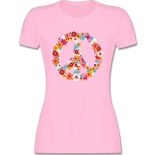 Statement - Peace Flower Power - XXL - Rosa - Flowerpower Shirt - L191 - Tailliertes Tshirt für Damen und Frauen T-Shirt