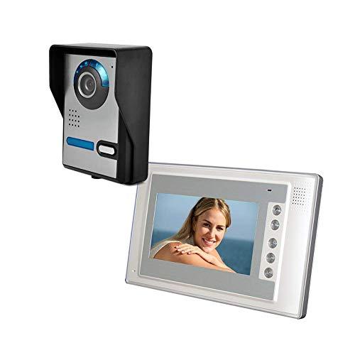 XHZNDZ Kit videocitofonico da 7 Pollici con videocitofono e videocitofono con 1 Telecamera Schermo LCD TFT con 1 Telecamera e sblocco IR Night Vision Antipioggia