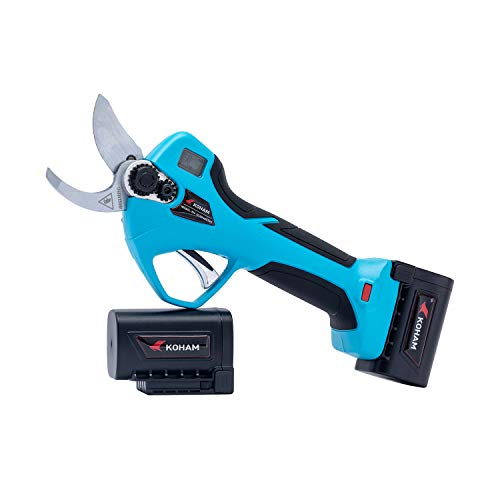 KOHAM Professional Cordless Electric Pruning Shears with Display Screen 2 Lithium Battery Powered Tree Branch Pruner, 32mm (1.26Inch) Cutting Diameter, 6-8 Working Hours