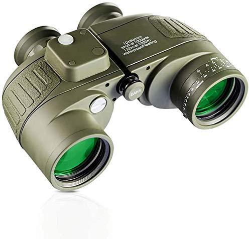 XYSQWZ 10X50 Marine Binoculars for Adults-HD Large Diameter Binoculars with Rangefinder Compass BAK4 Prism FMC Lens Waterproof Fogproof for Navigation Birdwatching Hunting