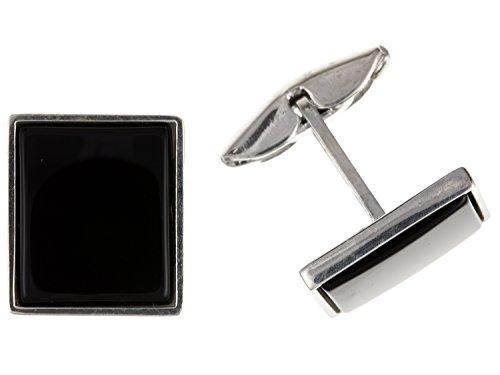 Onyx rectangulaire Boutons de manchette – Argent Sterling 925 – Livré dans une boîte cadeau gratuit ou sac cadeau