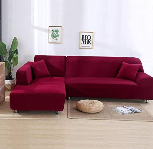GRBZL 1-Stück Elastisch Sofaüberwurf Sesselbezug, Sofaüberzug Polyester, Sofahusse Sesselhusse Stretch,Sofabezug Für Sofa, Couch, Sessel Zum Schutz, Mehrere Farben-Maroon-Doppelsitzer Sofaüberzug