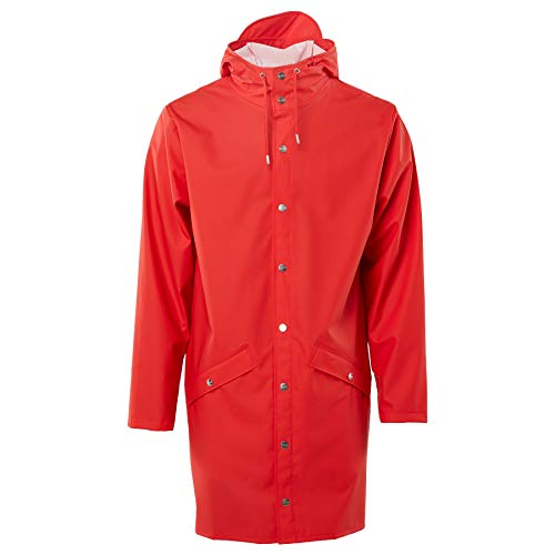 RAINS Long Jacket Veste Homme, Rouge, M/L