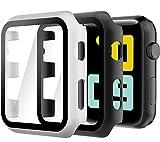 Hianjoo 2 Piezas Estuche Rígido Compatible con Apple Watch 38mm, Cubierta de PC con Protector de Pantalla Templado Compatible con iWatch Series 3 2, Protección Completa, Antiarañazos, Negro/Plata