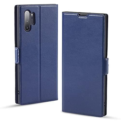 Hülle Samsung Note 10 Plus, Note 10 Plus Handyhülle, Schutzhülle Samsung Note 10 Plus, Tasche Samsung Note 10 Plus, Klapphülle Samsung Note 10 Plus, Note 10+ Hülle, Etui Flip Cover Hülle (4G/5G, Blau)