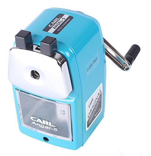 Manual Pencil Sharpener Heavy Duty Metal Pencil Sharpener for Kids Students Artists in Classroom Office and School by LUBA SAN-Blue