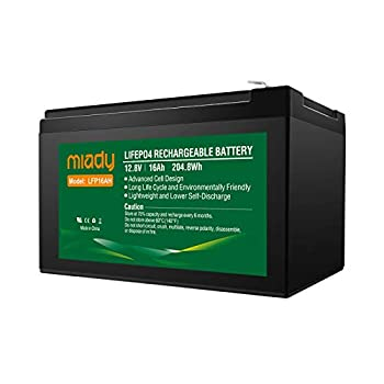 12V 16Ah Deep Cycle LiFePO4 Battery 2000 Cycles Miady LFP16AH Rechargeable Battery Maintenance-Free Battery for Golf Cart Boat Solar System UPS and More …