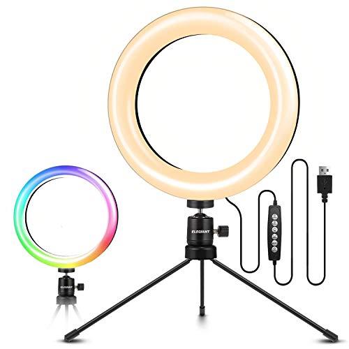 ELEGIANT Aro de Luz Trípode, Anillo de Luz LED para Móvil con 10 Colores RGB + 10 Niveles de Brillo para Fotografía, Grabación de Vídeo, Maquillaje, Transmisión en Vivo, Volg, Youtube, TIK Tok