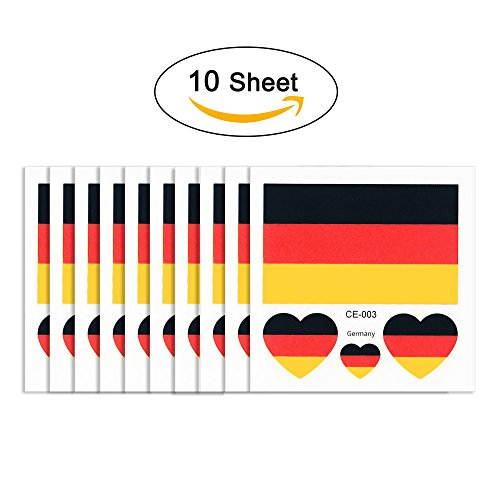 joseche National Flagge Tattoo 10 modische temporäre Tattoos [enthalten iClean Tücher] Umweltfreundlich Wasserdicht Tattoo Aufkleber für 2018 World Cup, Fußball Soccer Fans Sport Spiel, Deutschland
