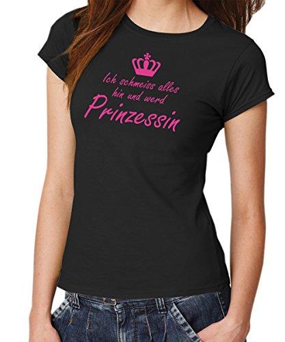 - Ich schmeiss Alles hin. - Girls T-Shirt Schwarz, Gr. M, Dr. Pink